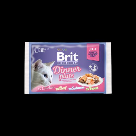 Brit Premium Cat tasakos Delicate Fillets in Jelly Dinner Plate 4x85g