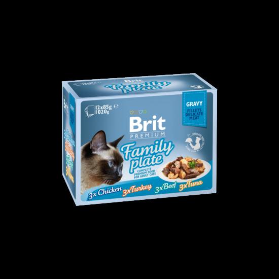 Brit Premium Cat tasakos Delicate Fillets in Gravy Family Plate 12x85g