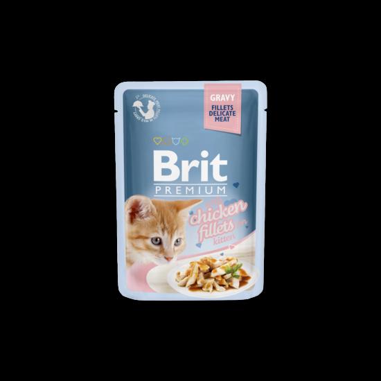 Brit Premium Cat tasakos Delicate Fillets in Gravy with Chicken for Kitten 85g