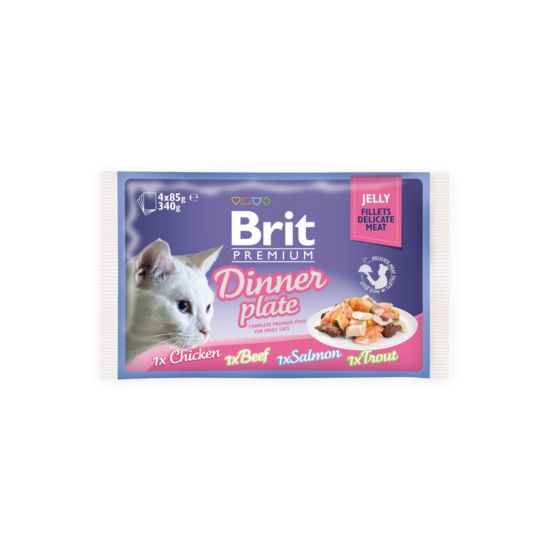 Brit Premium Cat tasakos Delicate Fillets in Jelly Dinner Plate 4x85g