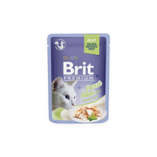 Brit Premium Cat tasakos Delicate Fillets in Jelly with Trout 85g